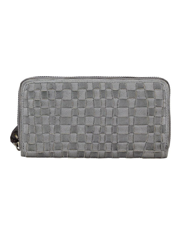 Prairie Woven Large Leather Zip Around Wallet