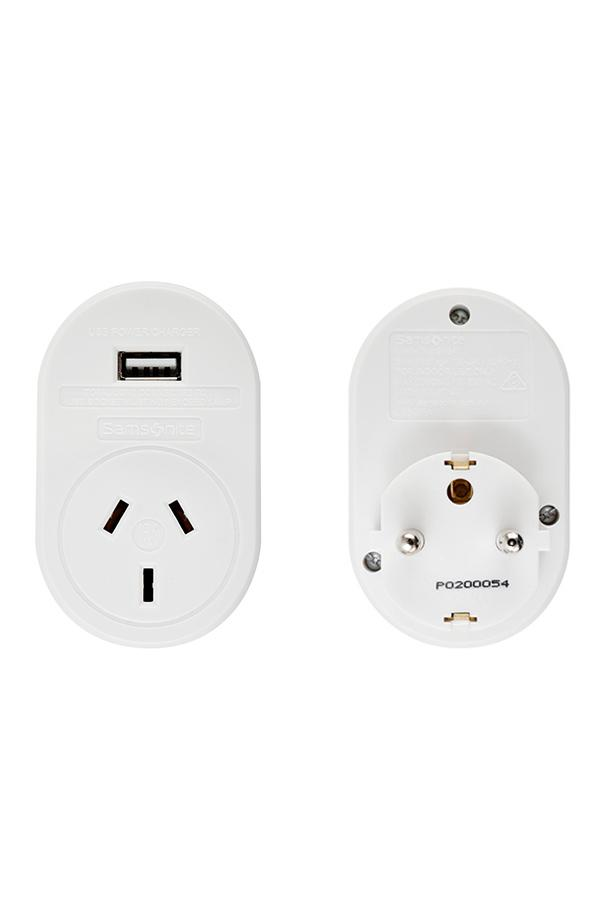Samsonite AU/NZ to Europe Adaptor 1xUSB
