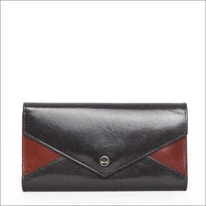 Cellini Rfid Fold Over Wallet Black/tan Purse