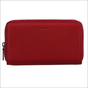 Pierre Cardin Italian Leather Ladies Double Zip Wallet Rfid-Red Purse /phone Wallet