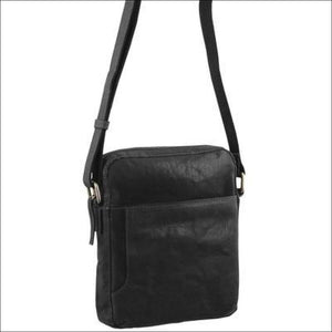 Pierre Cardin Rustic Leather Cross Body/tablet Bag- Black Leather Crossbody Bag
