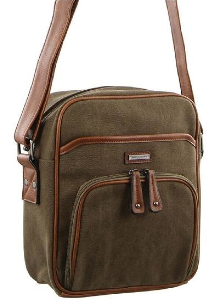 Pierre Cardin Unisex Canvas Crossbody Shoulder Bag Brown