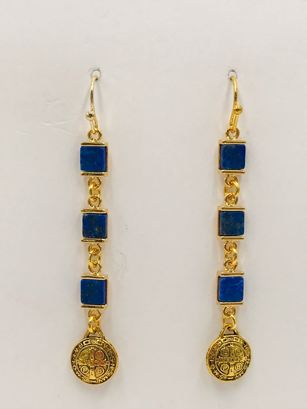 Dangle Earrings- Lapis and Gold