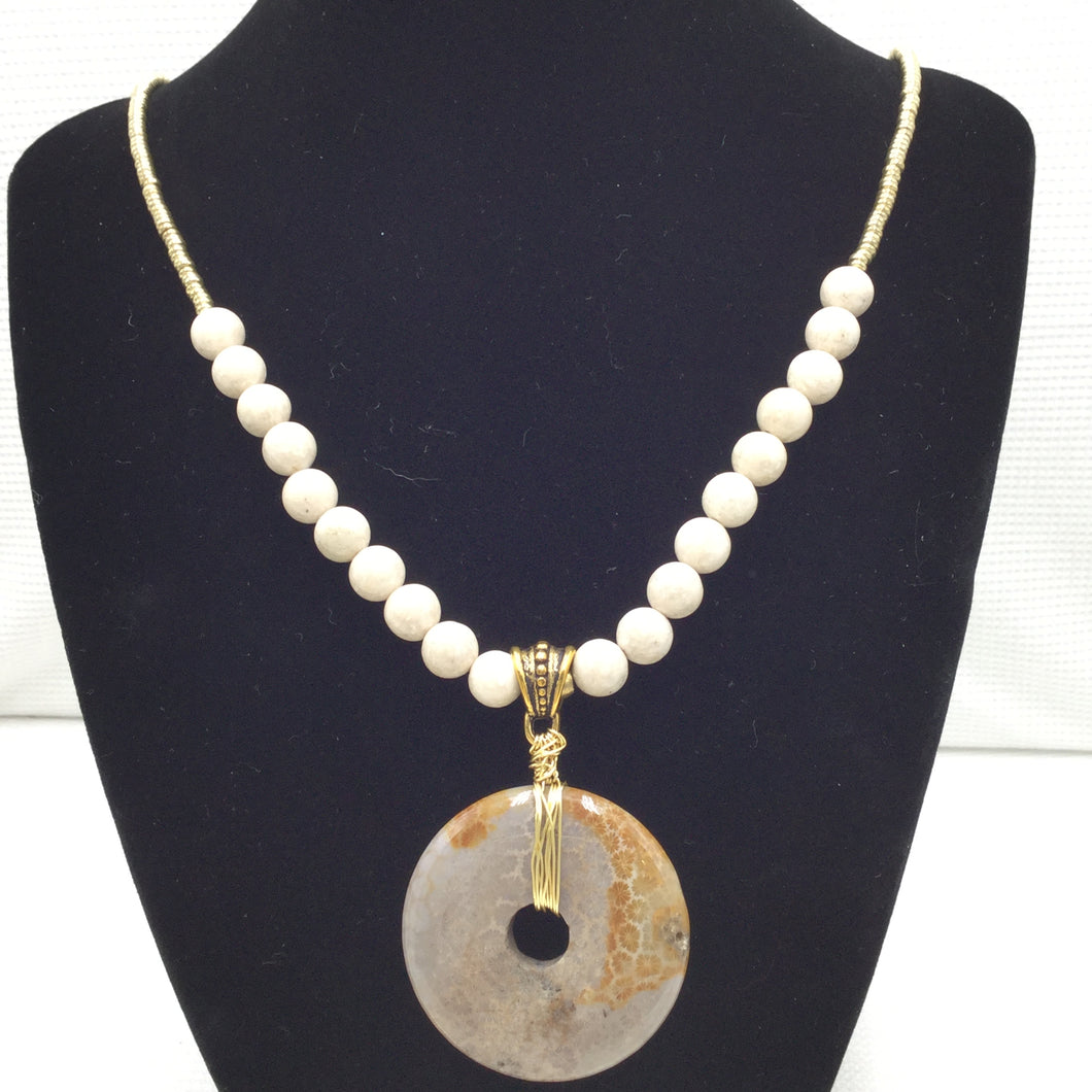 Necklace - Brass, Fossil Stone