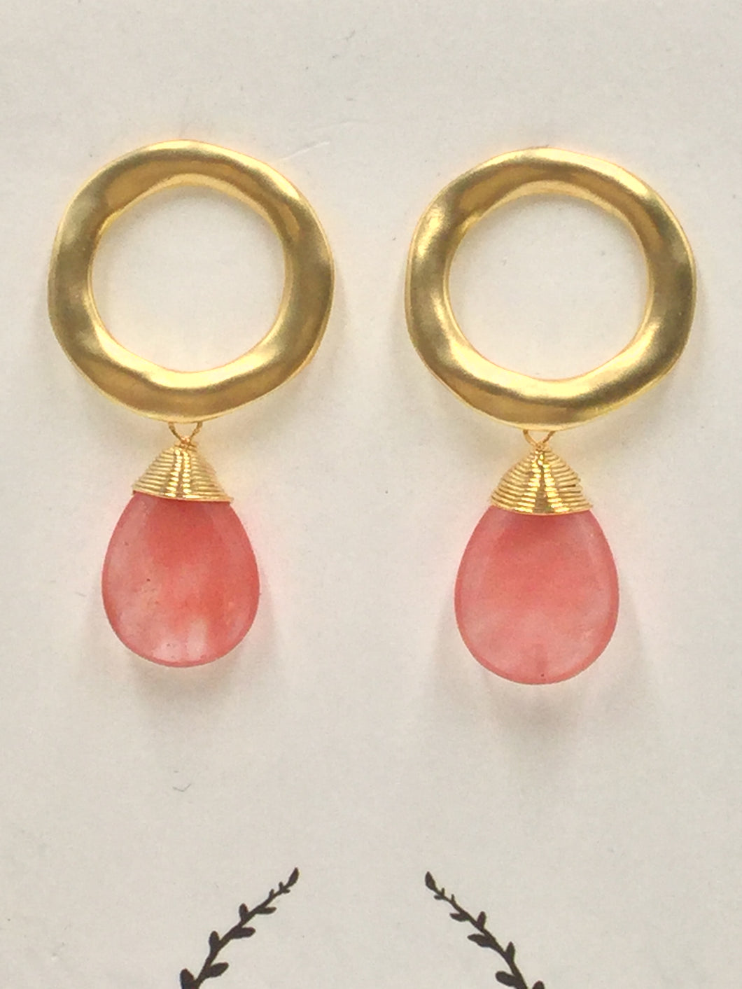 Gold hoop Post with Cherry Quartz