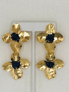 Flower On Flower - Lapis and Gold