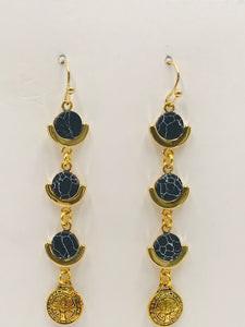 Dangle Earrings- Round Black Howlite and Gold