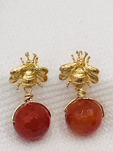 Bee Earrings - Gold with Carnelian