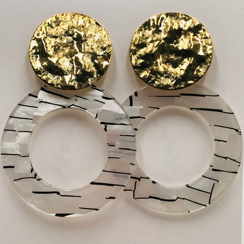 Trendy and Fun - White and Black Ring Earrings
