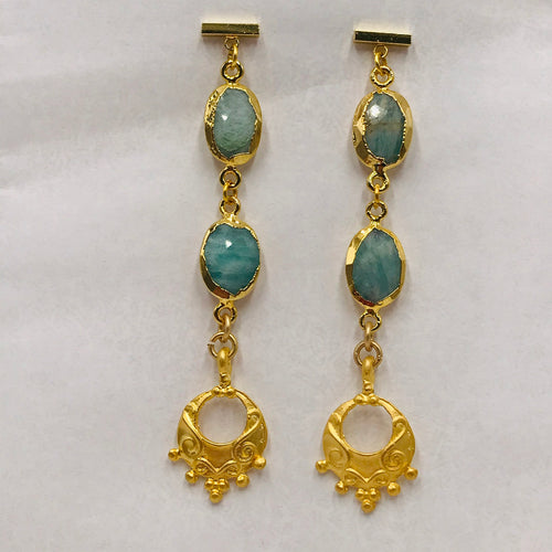 Amazonite with Ornate Gold Pendant