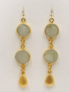 Dangle Earrings - Gold Banded African Opal