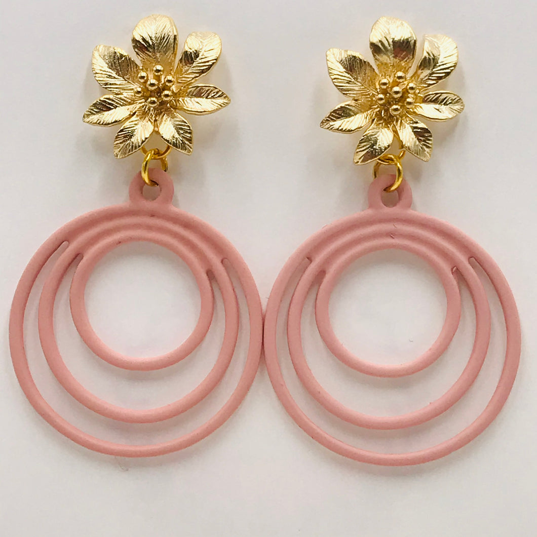 Trendy and Fun Pink Spiral Earrings