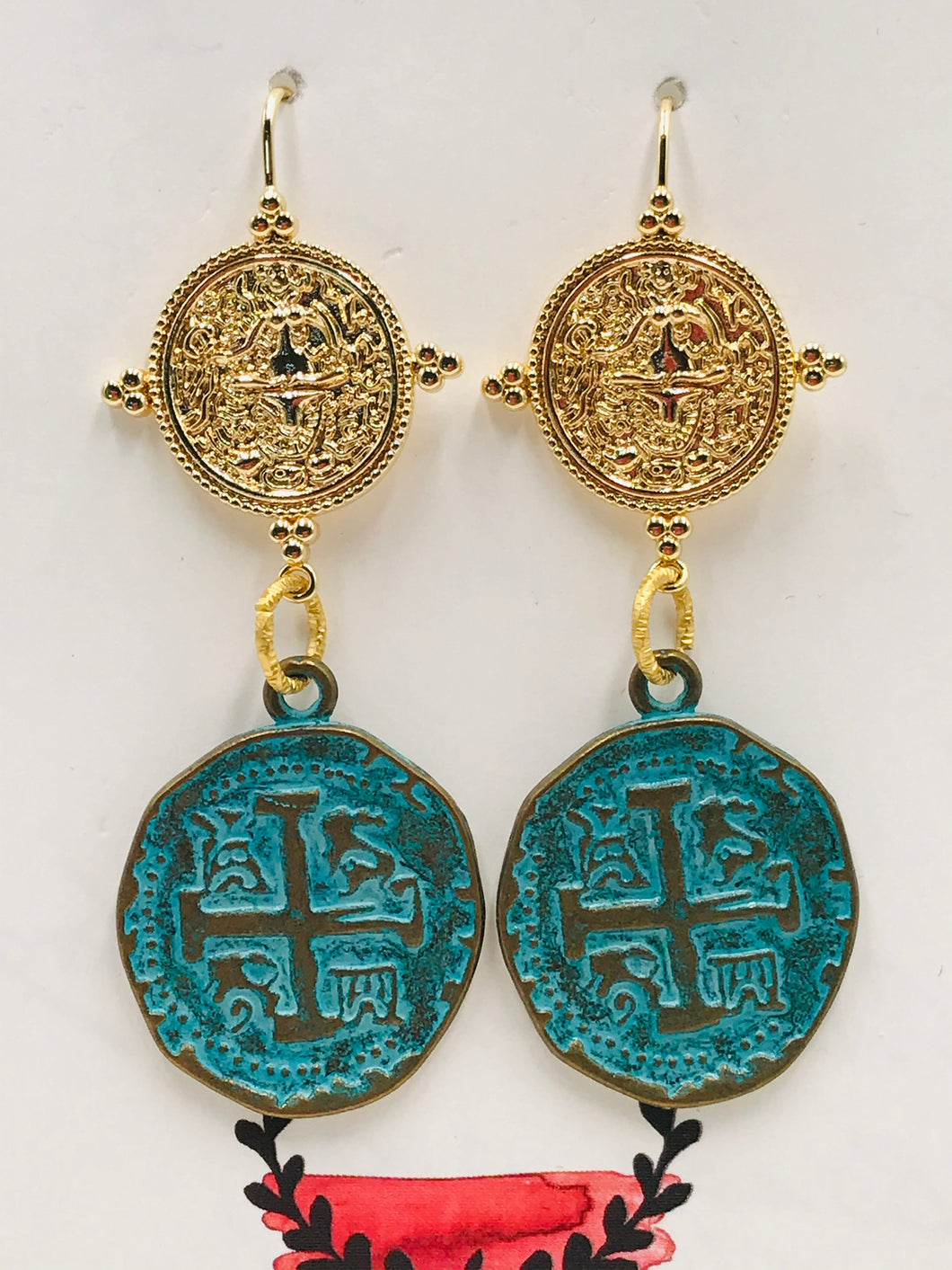 Gold Vermeil Coin Earring with Verdigris Coin Pendant