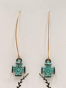 Gold Hoop with Verdigris Cross