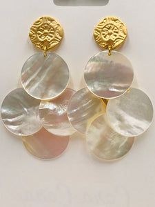 Shell Chandelier Earrings with Gold