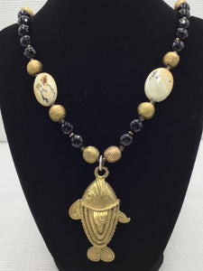 Necklace - Black Onyx, Unique Jasper and Brass Fish Pendant