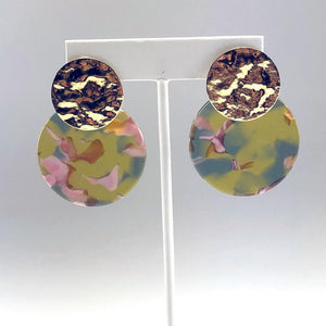 Pink, Green and Yellow Round Earring