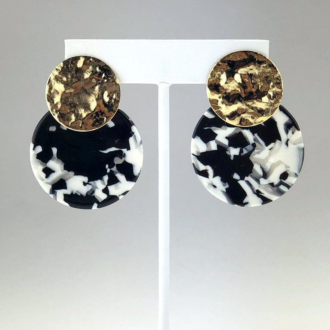 Disc Earrings - Black and White
