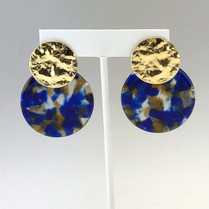 Navy, Brown Round Earring
