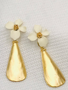 Flower with Gold Drop Earrings