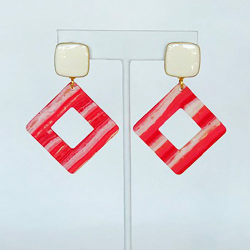 Trendy and Fun - Coral and Cream Cut Out Square