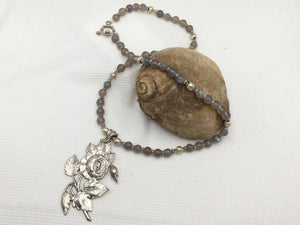 Necklace - Labradorite with Silver Flower Pendant