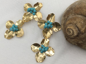 Flower on Flower - Turquoise and Gold