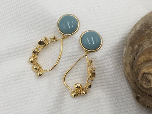 Flower Earrings in Gold with Grey - Green Posts