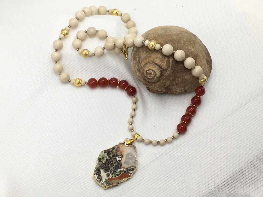 Necklace - Carnelian, Fossil Stone and Mosaic Turquoise