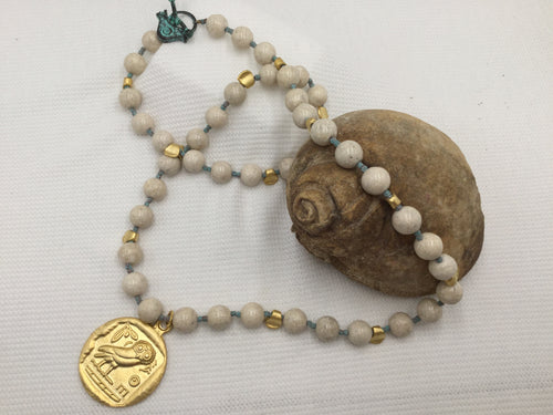 Necklace - Cream Fossil Stone, Verdigris and Gold