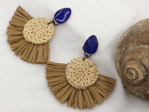 Trendy and Fun Raffia Fan Earrings