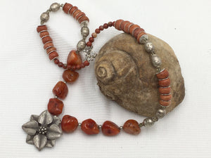 Necklace - Red Carnelian and Silver
