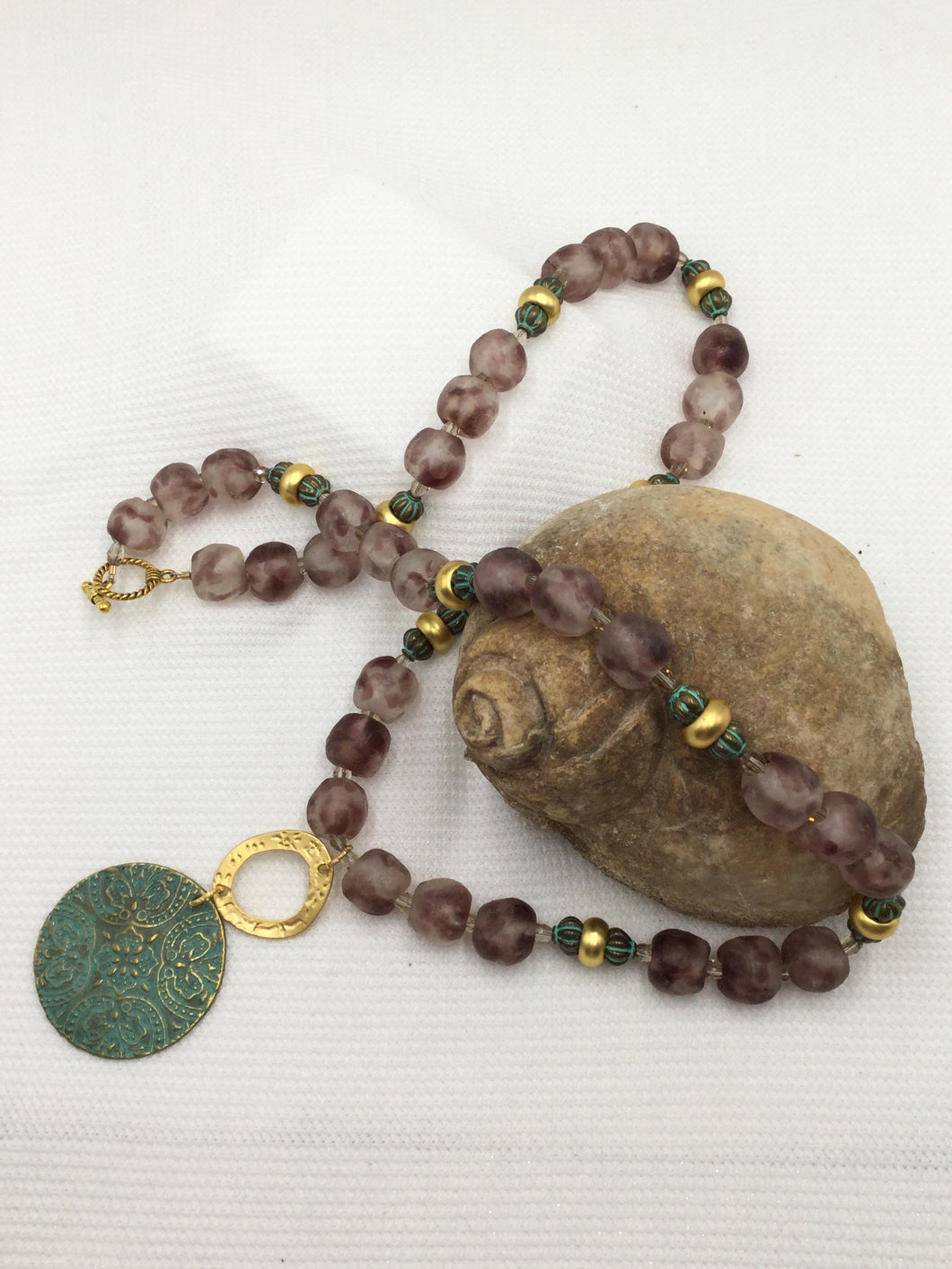 Necklace - Purple African Beads with Verdigris and Gold