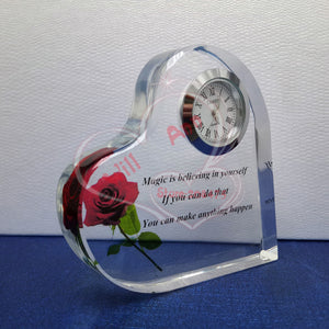 50PCS/LOT Wedding Crystal Clock Crystal Heart Clock Paperweight Wedding Gifts Favors For Guests