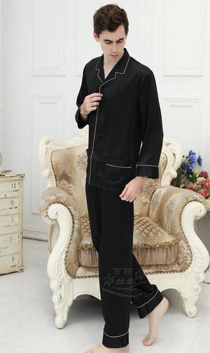 100% mulberry silk male household to take heavy silk pajamas M - big yards XXXXL (black)