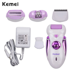 Kemei  4 in 1 Personal Health Care Machine Multifunction Callus Remover Epilator Shaver Hair Trimmer Rechargeable Foot Care Tool