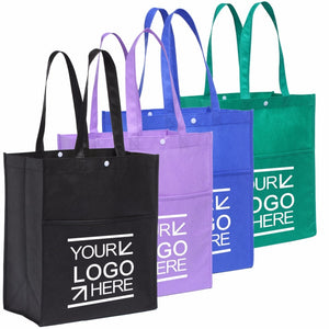 100PCS/Lot Custom Eco Shopping Bag Fabric Grocery Recyclable Hight Design Tote Handbag with Pocket Snap Wholesale