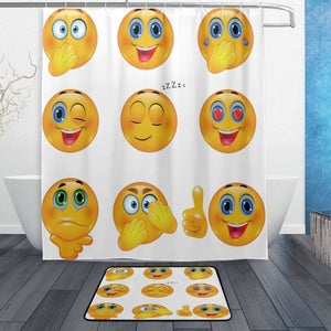 Funny Emoji Shower Curtain and Mat Set, 3D Yellow Smiley Emotional Faces Waterproof Fabric Bathroom Curtain