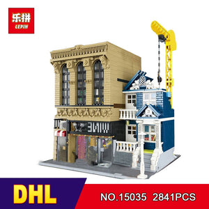 DHL Lepin 15035 2841Pcs Creative Streetsight MOC Series The Bars and Financial Companies Set Building Blocks Bricks