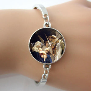 1 pc/lot NATIVITY Angel  Spiritual  White Cream Blue Peach Angel Religious Spiritual Christmas bracelet&bangle.