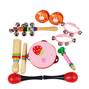 10Pcs Early Education Musical Instruments Toys Set for Children - Pink