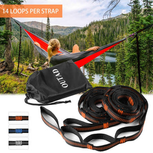 OUTAD 2pcs Hammock Tree Straps Set Versatile Heavy Duty 14 Loops No Stretch Suspension System Kit for Outdoor Hammock