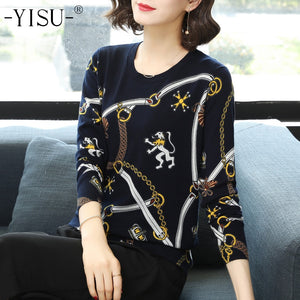 YISU Knitted sweaters 2018 Women Warm Sweater Autumn Winter Printed sweater Loose Casual Pullovers O-neck Long sleeve Sweater