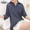 Fashion striped women blouse shirt plus size 3XL 4XL ladies tops V collar OL blouse women shirt blusas femininas blouses 0428 40