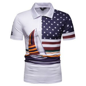 2019 Summer Brand Men's Polo Shirt Short Sleeve Slim Patchwork Painting sailboat USA flag juventus Men Polo T-Shirts Clothing