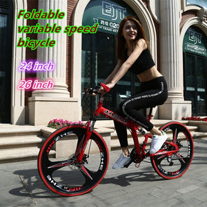 21-speed Variable Speed Bicycles shift Dual Disc Brakes Foldable Mountain Bike 26/24 inch steel beam Road Racing