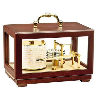 BARIGO Barograph Recording Instrument - Brass Mahogany - Solid Top w-Handle [2018] - Clocks & Barometers Brand_BARIGO clocks-barometers