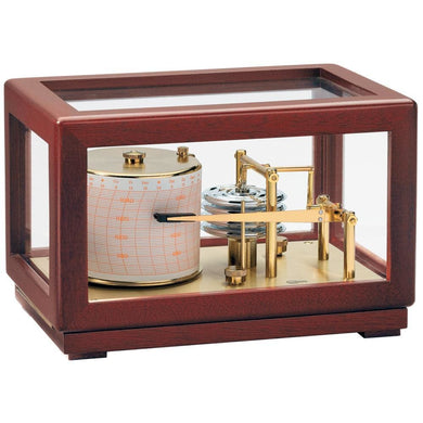 BARIGO Barograph Recording Instrument - Brass & Mahogany w- Glass Top [2018.1] - Clocks & Barometers Brand_BARIGO clocks-barometers Marine