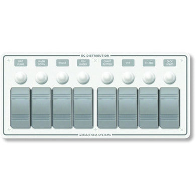 Blue Sea 8271 Water Resistant Panel - 8 Position - White - Horizontal Mount [8271] - Electrical Panels Brand_Blue Sea Systems electrical