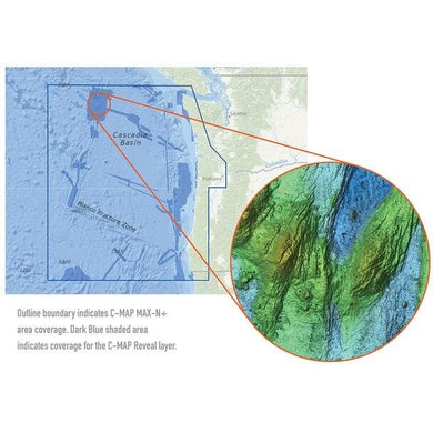 C-map Reveal Ultra High Resolution Bathymetric Chart S. Oregon - N. Washington - Cartography Cartography - C-MAP Precision C-Map